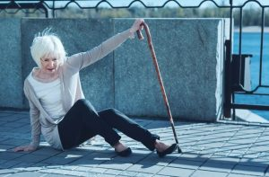 elderly woman falling