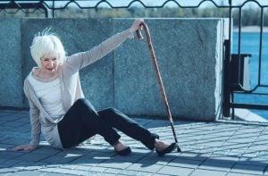 elderly woman falling