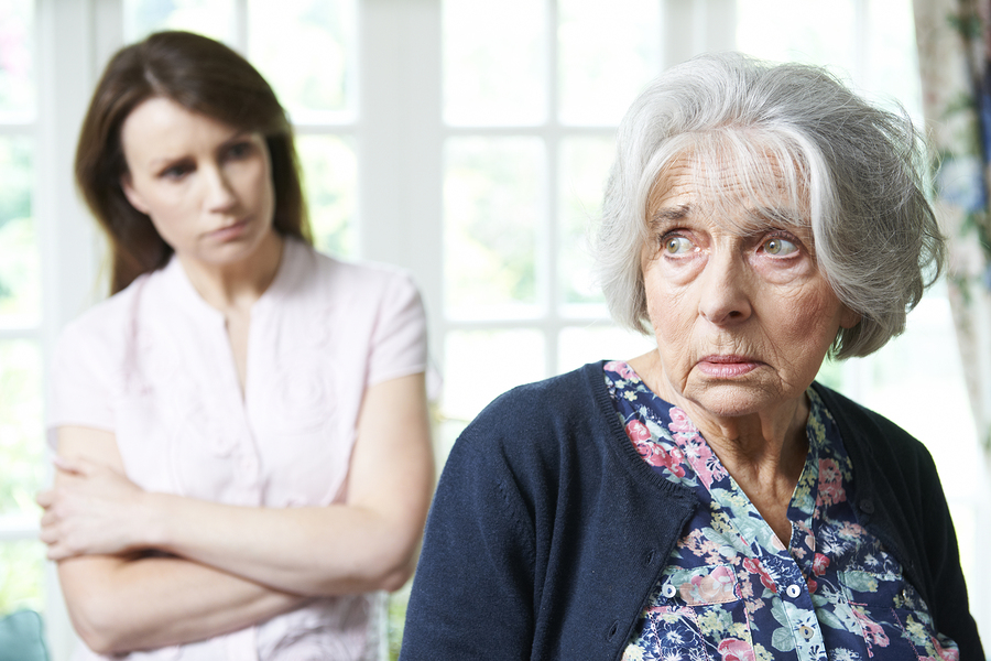 elder woman looking worried