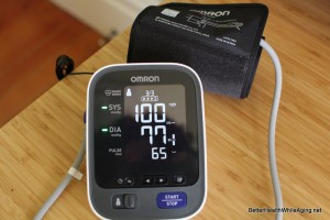 omron blood pressure monitor in use